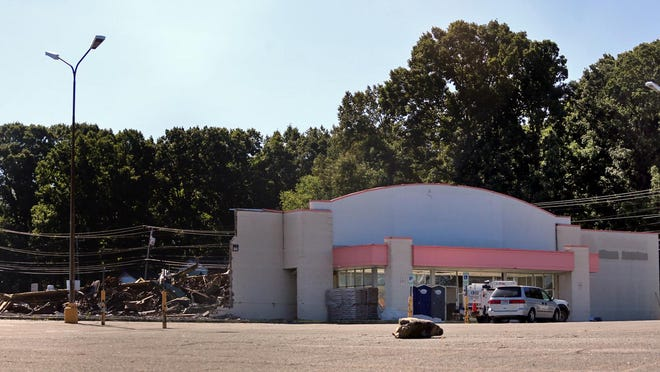 A portion of Kmart is left standing on Monday morning. The demolition will make way for a future Ingles location.