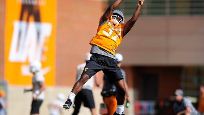 Charles West (37) catches a ball during Tennessee Volunteers football practice at Anderson Training Facility in Knoxville, Tennessee on Thursday, March 23, 2017.