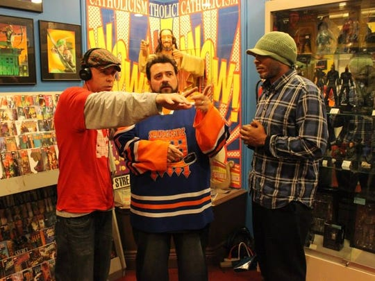 """Wilmington filmmakers J.J. Garvine and Tai Parquet prepare to interview director Kevin Smith for """"Film Hawk,"""" their Sundance Film Festival-selected documentary."""