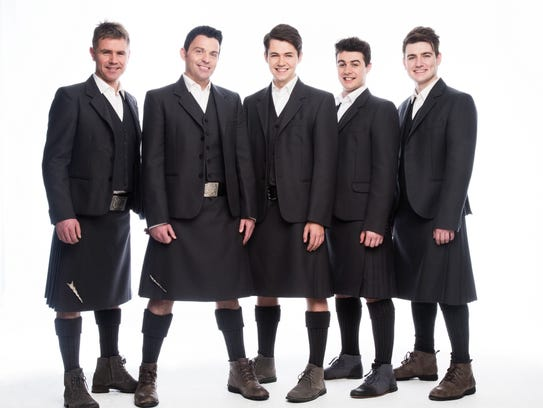 Emmet Cahill of Celtic Thunder (far right) joins the Space Coast Symphony Orchestra at the Emerson Center in Vero Beach 3 p.m. March 25. Other members of Celtic Thunder are (from left) Neil Byrne, Ryan Kelly, Damian McGinty and Michael O'Dwyer.