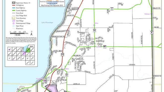 Map of District 13 supervisory area represented by a member of the Fond du Lac County Board.