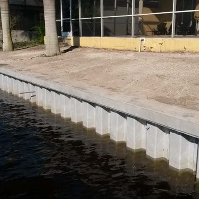 An example of corrugated, vinyl seawall, included in
