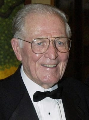 "Maj. Richard ""Dick"" Winters is seen in Sept. 22, 2002, file photo. Winters died Jan. 2, 2011. Army Maj. Dick Winters  was part of the unit that drew renown in print and on television as the ""Band of Brothers"" during World War II. File"