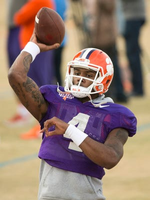 Clemson quarterback Deshaun Watson passes at a practice at Scottsdale Community College in Scottsdale on Dec. 28. 2016.