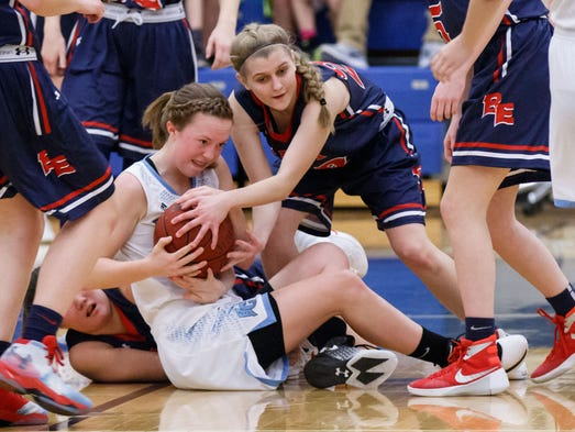 Brookfield Central sophomore Claire Haynes (left) and