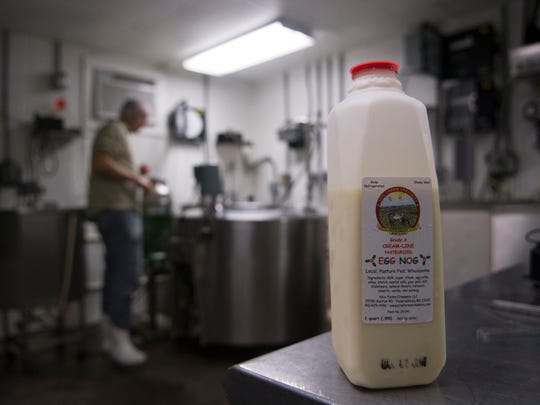 A quart of eggnog is displayed in the creamery at Nice