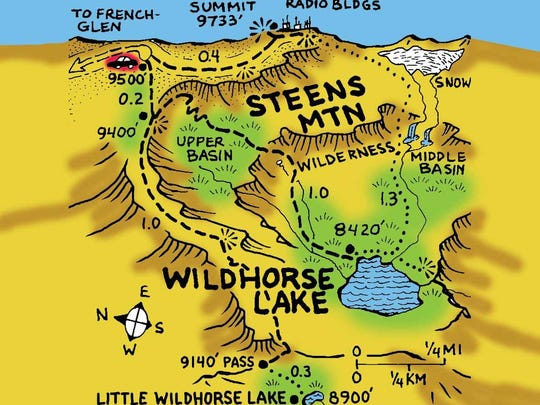 Wildhorse Lake is at Steens Mountain in southeastern