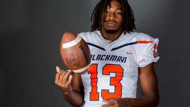 Blackman senior Trey Knox is one of the top wide receiver recruits nationally in the 2019 class. He also is dabbling with playing quarterback for the Blaze.