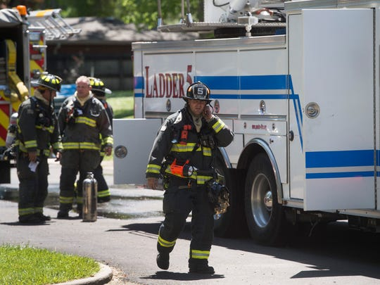 Crews work the scene of a kitchen fire where one man was found dead at Whispering Pines Apartments on Drake Road on Saturday, June 3, 2017.