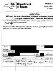 The Etain medical marijuana license application runs