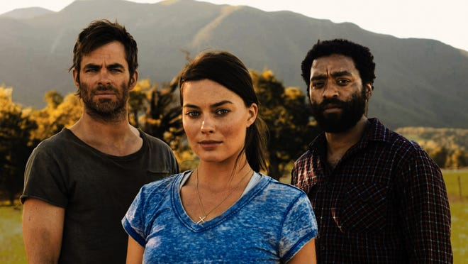 """An official still from the movie """"Z for Zachariah"""" starring Chris Pine, Margo Robbie and Chiwetel Ejiofor."""