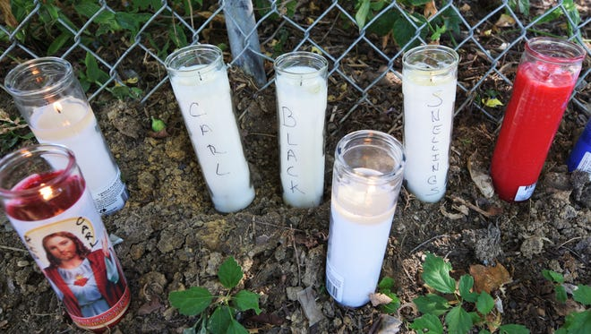 A memorial was placed on Pleasant Way near Mackenzie Street in York City on Friday, Sept. 23, 2016, after a vehicle crashed there Thursday night, killing occupant Carl Snellings of York City. The vehicle was eluding police when the crash occurred. Bill Kalina photo