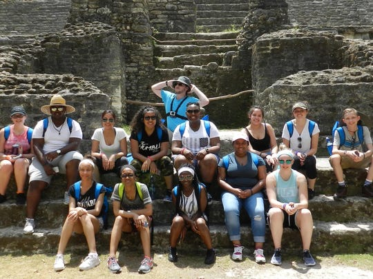 Howard High students and others who went on a seven-day tour of Belize included, from left, first row, Nadira Riley , Janiqe Slaughter, Erykah Tolbert, Briana Word, Shannon Winnington; second row, a teacher, Briana Varady, Jordan Chance, Suleima Reza, Alexa Reyes, Tammi Morris, Nieci Vallejo, Shania Flowers, Jacob Roberts and a teacher; third row, Lukas Vacula.