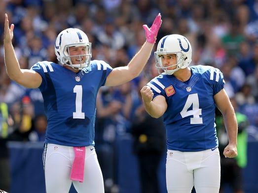 Indianapolis Colts kicker Adam Vinatieri (4) celebrates