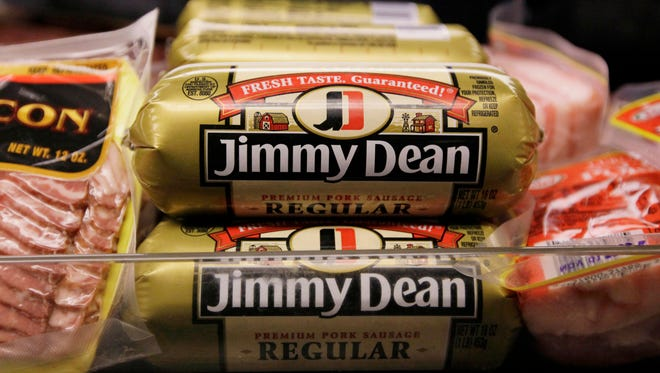 Jimmy Dean premium pork sausage on display at a store, in Chicago.