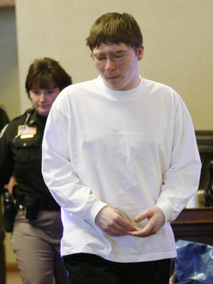 Brendan Dassey enters the court room Friday, April 19, 2007, at the Manitowoc County Courthouse in Manitowoc, WI.  Dassey, 17, is charged with first-degree intentional homicide, mutilating a corpse and first-degree sexual assault in the death of 25-year-old Teresa Halbach on Oct. 31, 2005.  His uncle, Steven Avery, 44, was found guilty of her murder last month. (AP Photo/The Post-Crescent, Dan Powers)