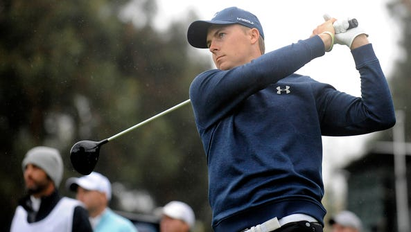 Jordan Spieth hits from the seventeenth hole tee box