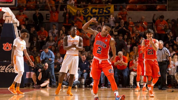 Auburn freshman guard Bryce Brown with a fist pump after making a shot in a 83-77 win over Tennessee on Jan. 2, 2016. Brown is averaging 9.2 points per game and is coming off an 18-point effort Tuesday vs. LSU.