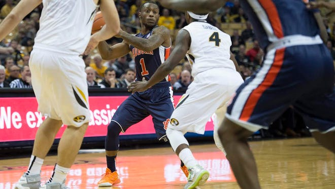 Auburn guard Kareem Canty was held to just nine points in a 76-61 loss at Missouri on Jan. 9, 2016.