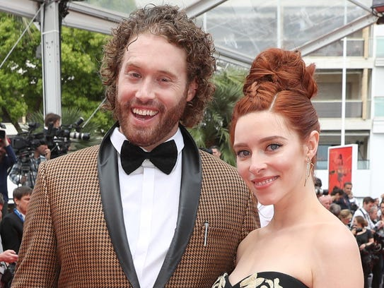 T.J. Miller and his wife, Kate, at the Cannes Film