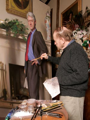 Artist Nelson Shanks works on a portrait of former president Bill Clinton in his Andalusia, Pa., studio in 2005.  The portrait was commissioned by the National Portrait Gallery in Washington.