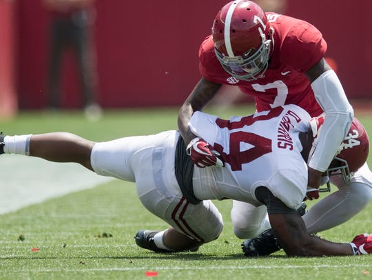 Alabama defensive back Trevon Diggs (7) stops Alabama