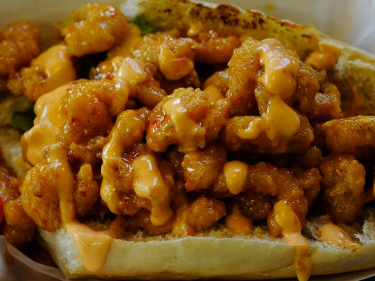 The shrimp poboy at the Seafood Bistro, located on