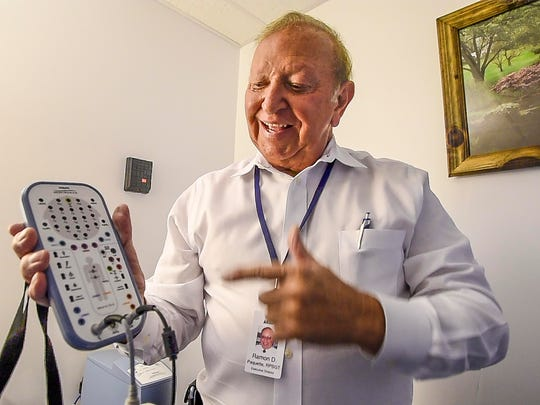 Ray Paquette of Vermont Medical Sleep Disorders in Essex explains a device on Wednesday, October 11, 2017, that used with electrodes attached to patients,  monitors them as they sleep.