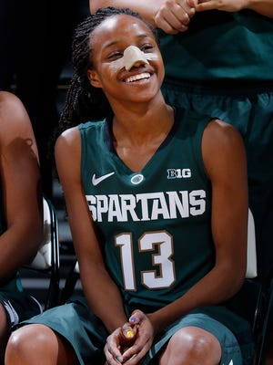 Freshman Morgan Green, who broke her nose during a preseason practice, is one of eight new additions to the MSU women's basketball team. She's expected to fill a big role for the Spartans.
