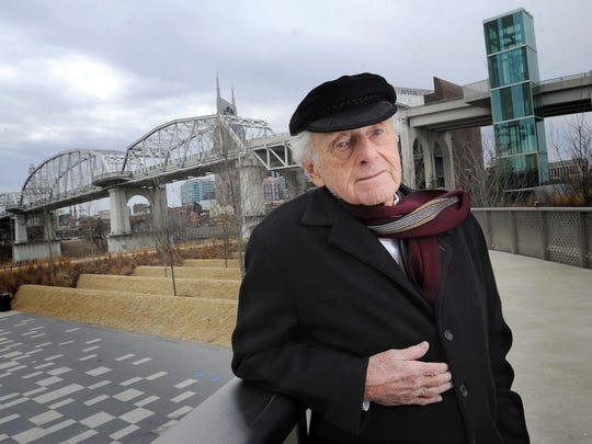 The Shelby Avenue pedestrian bridge, in the background Feb. 14, 2014, will be named for Tennessean Chairman Emeritus John Seigenthaler, who once talked a man out of jumping off of it. Seigenthaler died on Friday, July 11, at age 86.