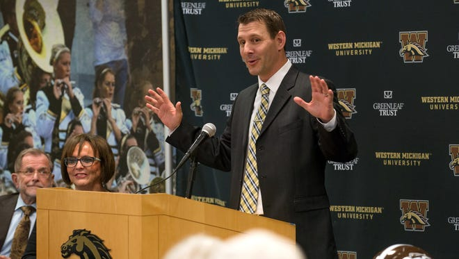 New Western Michigan University new head coach, Tim Lester, fields questions from the media Saturday afternoon.