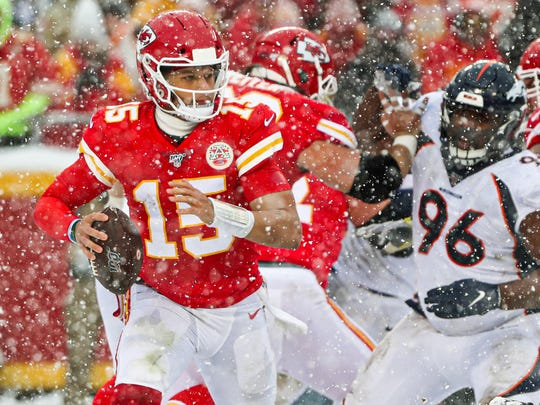 (10-4. Last week: 9)  A bruised hand? A snowstorm? Neither of those things bothered Kansas City quarterback Patrick Mahomes in Sunday's 23-3 victory against the Denver Broncos. Mahomes threw for 340 yards and two touchdowns to Tyreek Hill, and the defense turned in a strong effort. The Chiefs have built a miniature dynasty in the AFC West. The Chiefs clinched their fourth consecutive division title last week. On Sunday, they improved their record to 26-3 against division teams in the past five seasons. Head coach Andy Reid is putting together another strong regular season. But the big question about Reid, dating to his Philadelphia days, is whether he can win it all. That reputation is going to eventually become attached to Mahomes as well until he wins it all. Mandatory Credit: Jay Biggerstaff-USA TODAY Sports