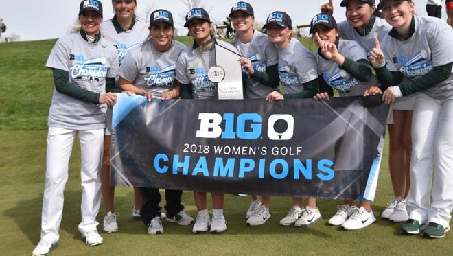 Michigan State University women's golf team captured the Big Ten title Sunday, April 22, 1018. It was the second straight year MSU women's won the championship.
