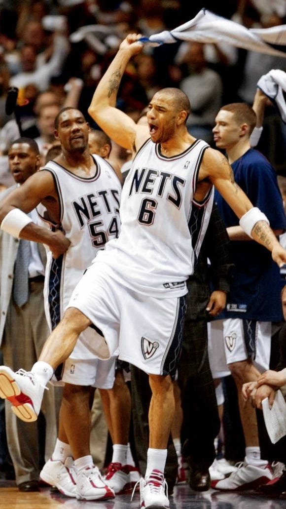 Ex-Net Kenyon Martin, seen here celebrating an Eastern Conference Finals win over Detroit in 2003, will chase for a Champions Basketball League title this summer with the Gotham Ballers.
