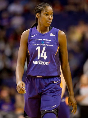 Mercury forward Devereaux Peters looks on during a game against the Seattle Storm at Talking Stick Resort Arena on July 31, 2018.