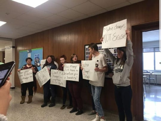 Norwich High School students protest gun violence in