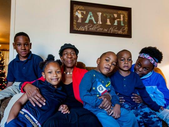Carolyn Denard, third from left, with her grandchildren,