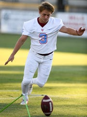 USJ's Charles Campbell practices his field goal kicks