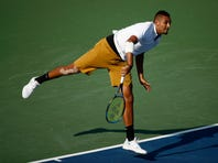 Nick Kyrgios, of Australia, reacts after defeating Daniil Medvedev, of Russia, in a final match at the Citi Open tennis tournament, Sunday, Aug. 4, 2019, in Washington. (AP Photo/Patrick Semansky)