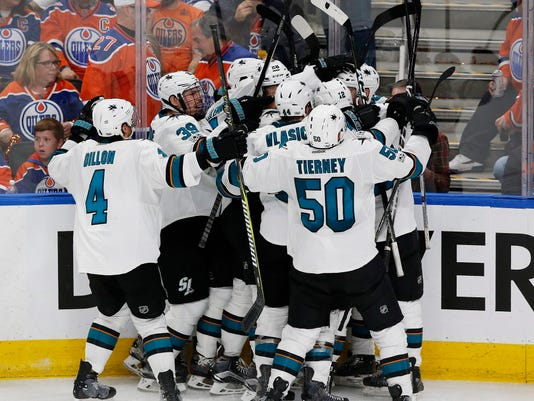 USP NHL: STANLEY CUP PLAYOFFS-SAN JOSE SHARKS AT E S HKN EDM SJS CAN AL