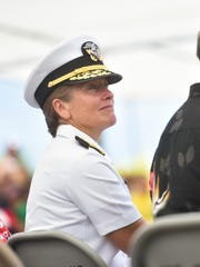 U.S. Navy Rear Adm. Shoshana Chatfield during the Memorial Day Commemoration at the Guam Veterans Cememtery in Piti on May 29, 2017.