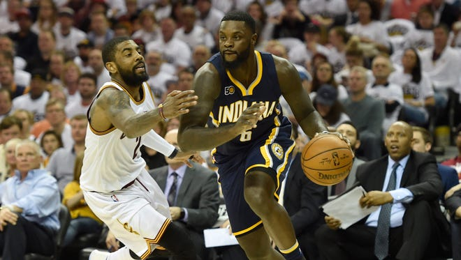 Apr 15, 2017; Cleveland, OH, USA; Indiana Pacers guard Lance Stephenson (6) drives against Cleveland Cavaliers guard Kyrie Irving (2) in the second quarter in game one of the first round of the 2017 NBA Playoffs at Quicken Loans Arena. Mandatory Credit: David Richard-USA TODAY Sports