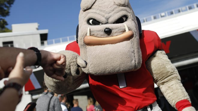 Hairy Dawg at the Dawg walk before the start of a NCAA football game between Georgia and South Carolina in Athens, Ga., on Saturday, Oct. 12, 2019.