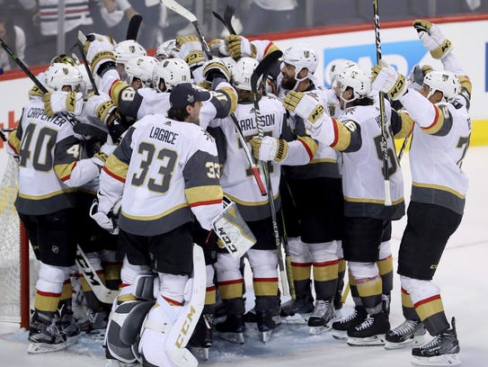The Vegas Golden Knights mob goaltender Marc-Andre