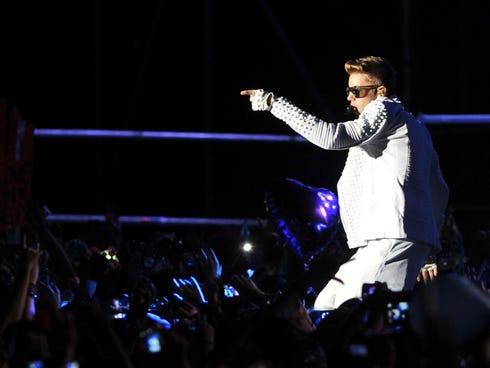 Justin Bieber performs in Santiago, Chile, on Nov. 12.