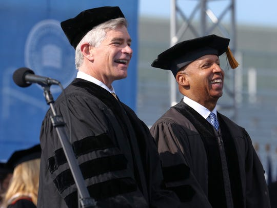 Two of the 2016 honorary degree recipients - past president