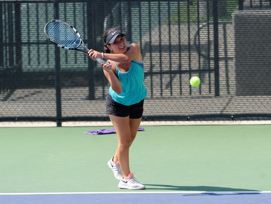 Wylie's Analeah Elias follows through on a backhand during the USTA Texas Slam at Abilene Christian University on Tuesday. Elias lost 6-1, 6-0 in third round of the Girls' 16 Singles consolation bracket.