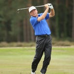 Joey Sindelar in action during the first round of The Senior Open Championship at Sunningdale Golf Club on Thursday.