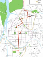 A map of the bike boulevard network used in the Safe Routes to School project.