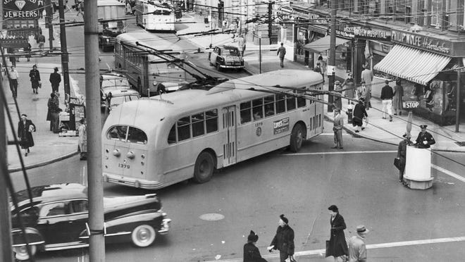 A trackless trolley turns onto Dorrance Street in downtown Providence in 1951.